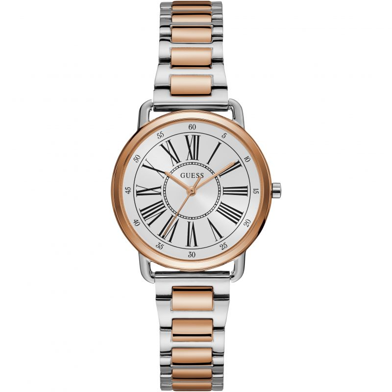 GUESS Ladies silver and rose gold watch with white dial.