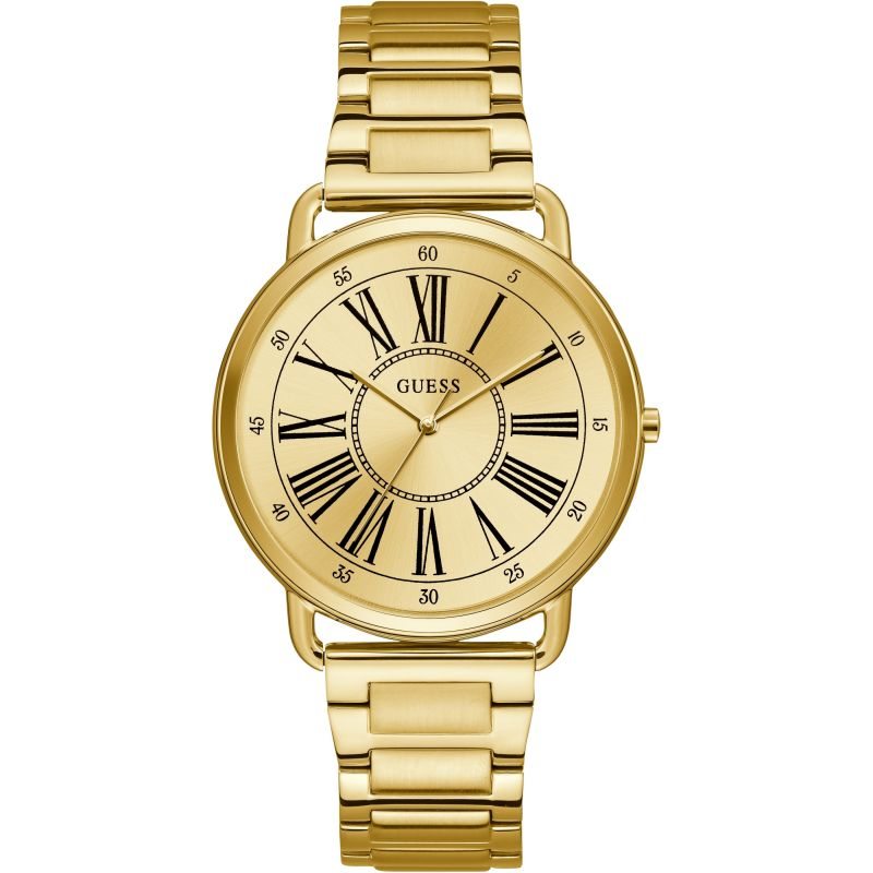 GUESS Ladies gold watch with gold roman numeral dial.