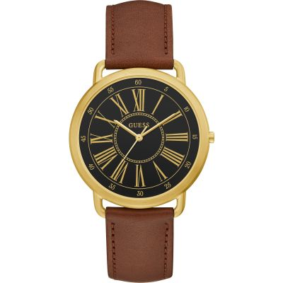 GUESS Ladies gold watch with black dial and brown leather strap.