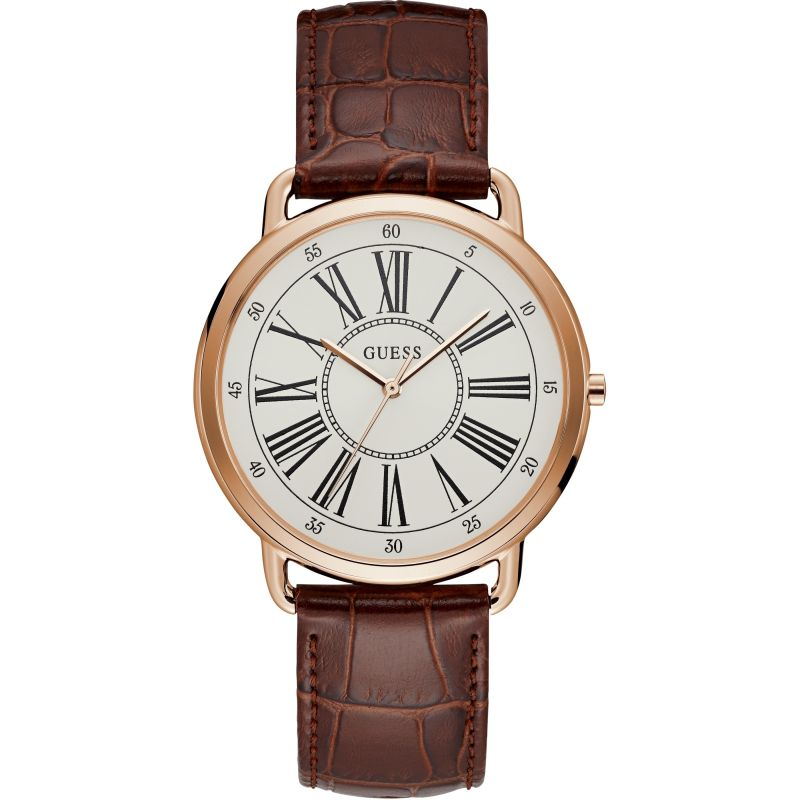GUESS Ladies rose gold watch with brown leather strap.