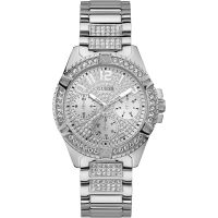 GUESS Ladies silver watch with crystals and glitz dial.