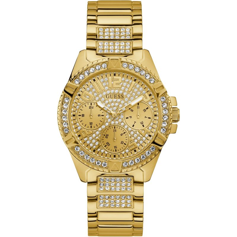 GUESS Ladies gold watch with crystals and glitz dial.