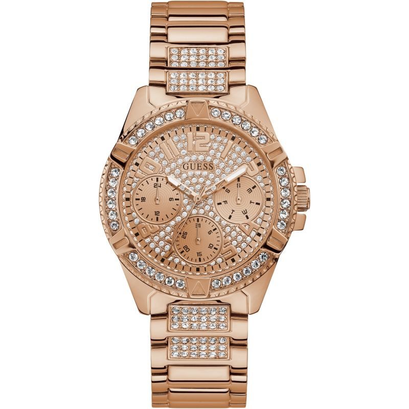 GUESS Ladies rose gold watch with crystals and glitz dial.