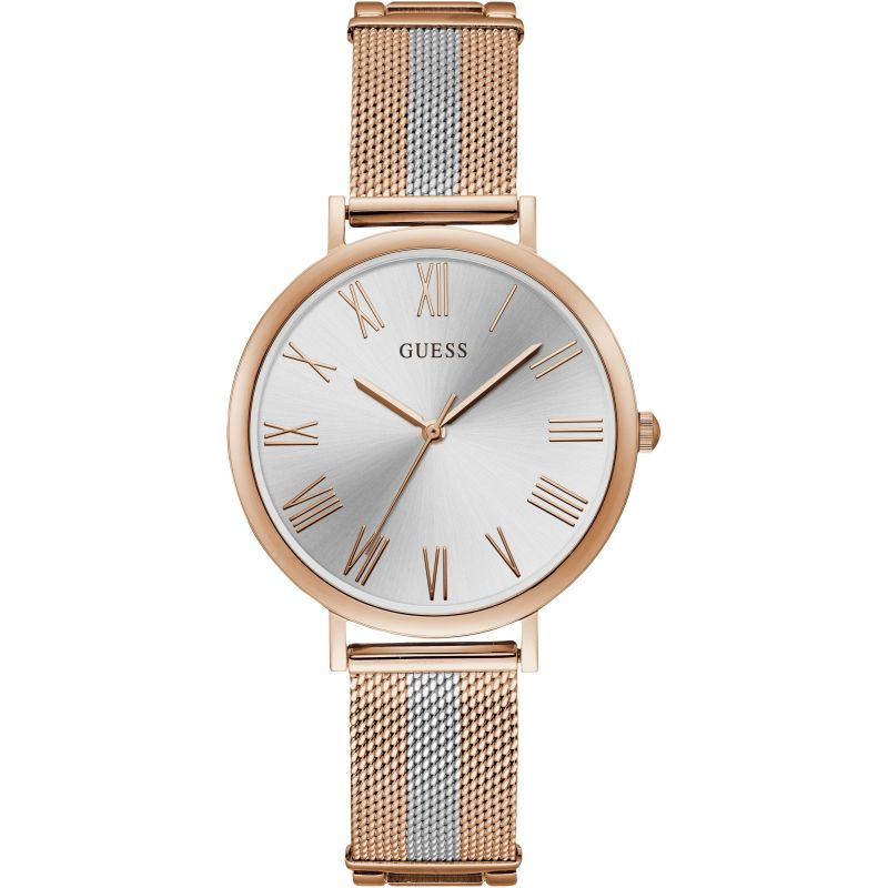 GUESS Ladies rose gold watch with two tone mesh bracelet.