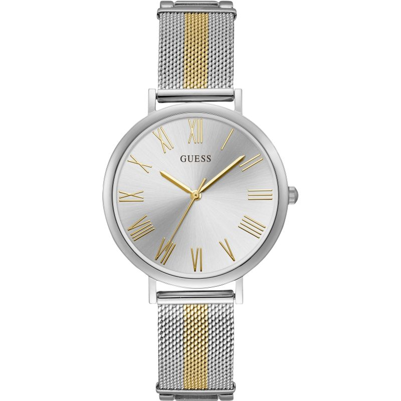 GUESS Ladies silver watch with two tone mesh bracelet.