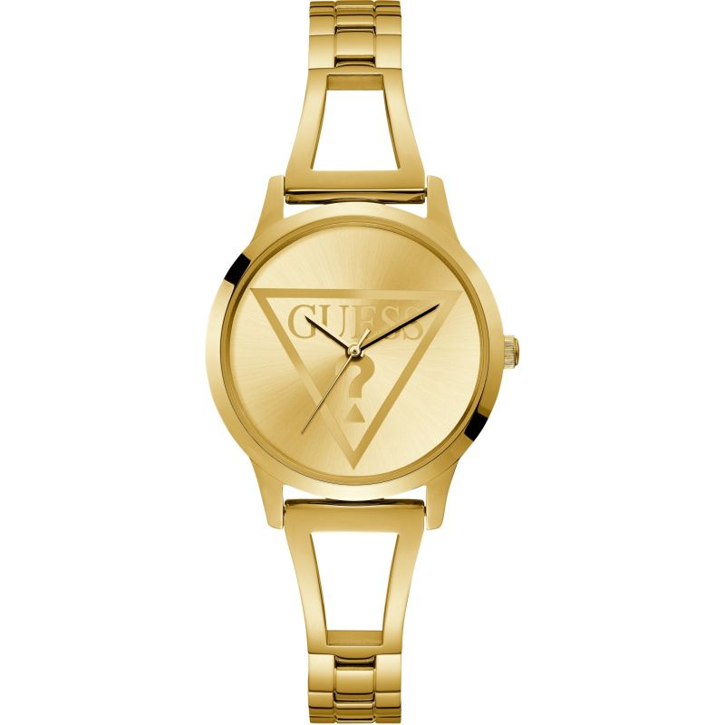 GUESS Ladies gold watch with gold logo dial.