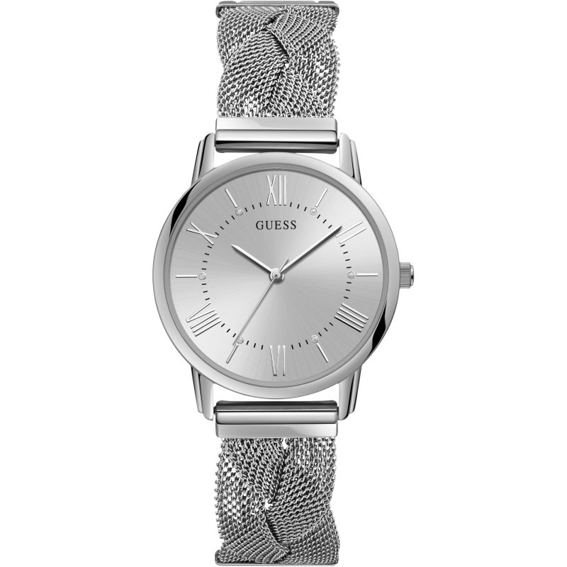 GUESS Ladies silver watch with braided mesh bracelet.