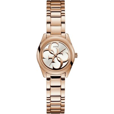 GUESS Ladies rose gold watch with white logo dial.