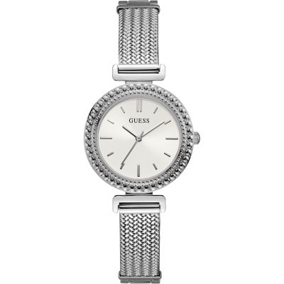 GUESS Ladies silver watch with white dial and mesh bracelet