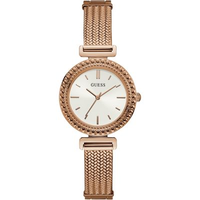 GUESS Ladies rose gold watch with white dial and mesh bracelet