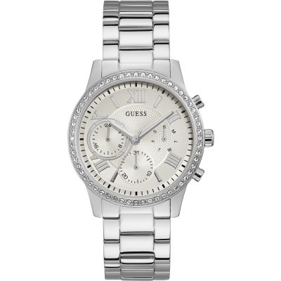 GUESS Ladies silver watch with crystals and silver dial.