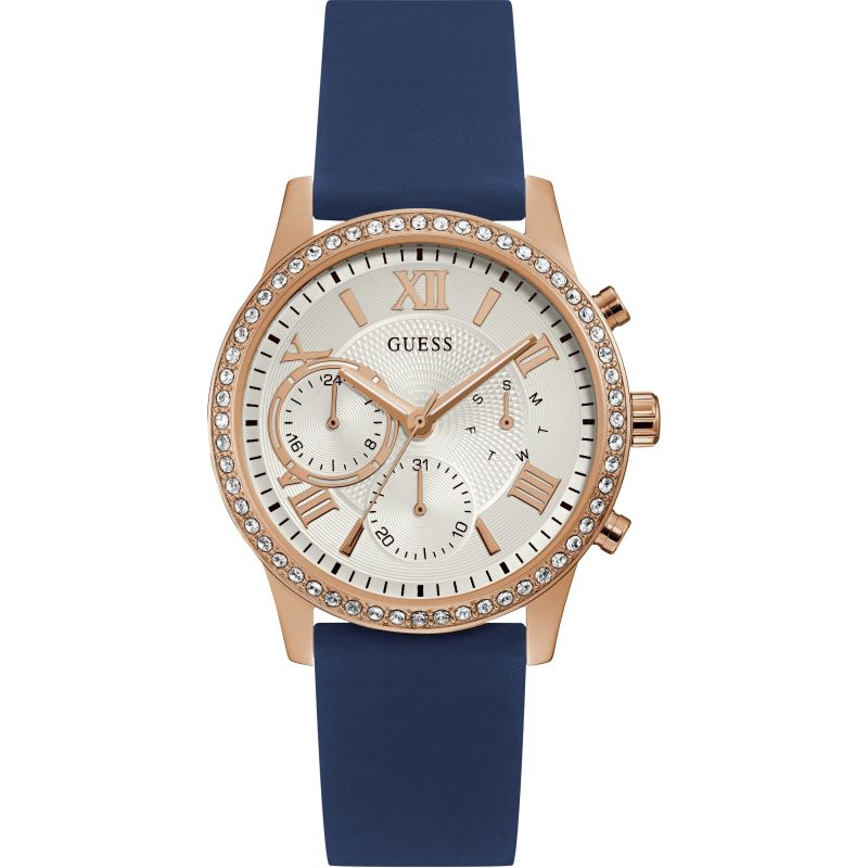GUESS Ladies rose watch with white dial and blue  silicone strap.