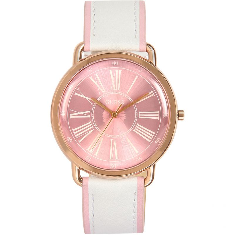GUESS Ladies rose gold watch with pink dial and white leather strap.