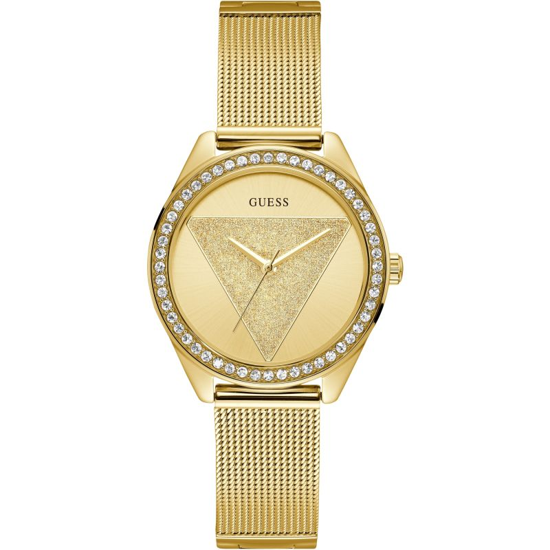 GUESS Ladies gold watch with gold glitz logo dial.