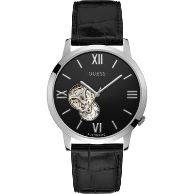 GUESS Gents silver automatic watch with black dial, visible movement and black croco leather strap.