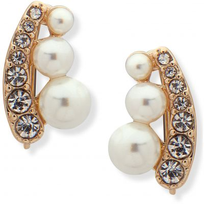Anne Klein Dames Pearl Crystal Crawler Earrings Basismetaal 60505700-887