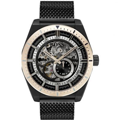 Mens Hugo Boss Signature Automatic Skeleton Watch 1513655