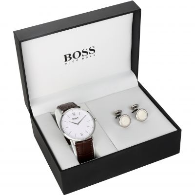 Mens Hugo Boss Cufflink Box Set Watch 157STEELWCUFFLINK