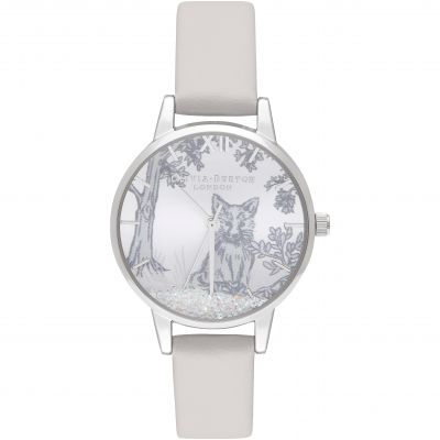 Ladies Olivia Burton Snow Globe Blush and Silver Watch OB16SG05