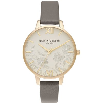 Lace Detail Nude Gold & London Grey Watch