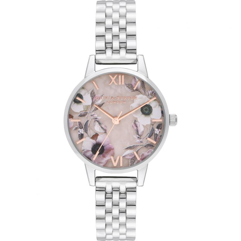 Semi Precious Rose & Silver Bracelet Watch