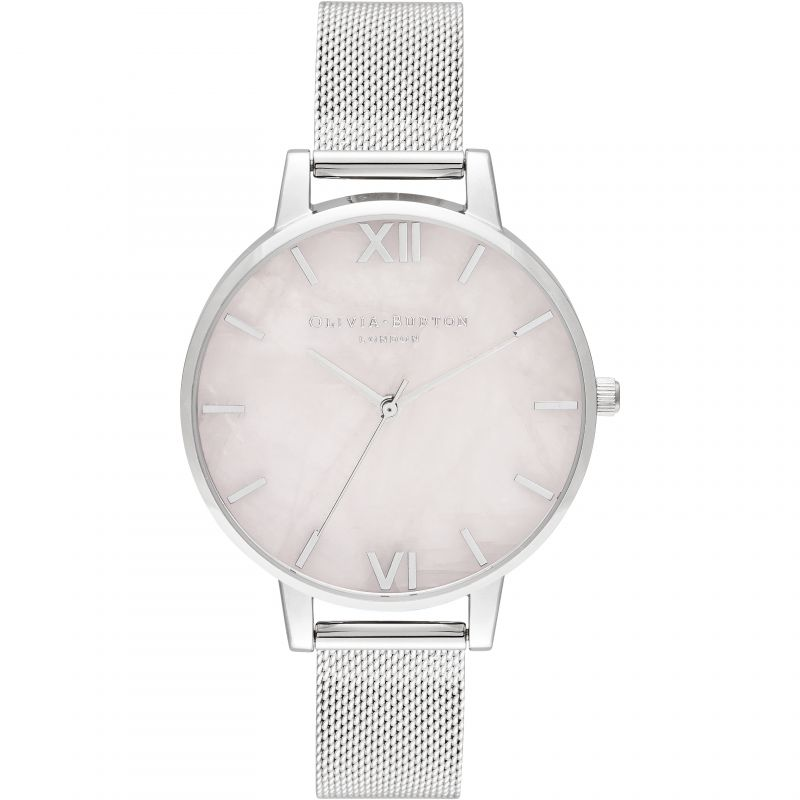 Semi Precious Silver & Rose Quartz Mesh Watch OB16SP18 for £150