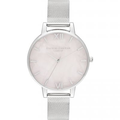 Semi Precious Silver & Rose Quartz Mesh Watch