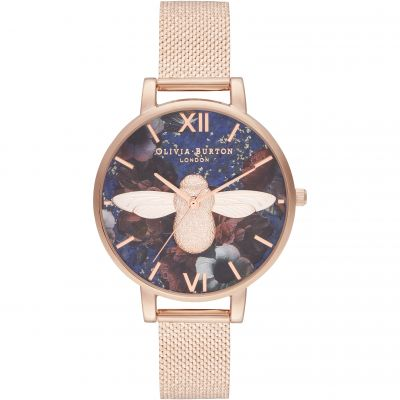 Big Dial 3D Bee Lapis Lazuli & Rose Gold Boucle Mesh Watch