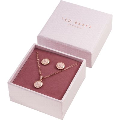 Ted Baker Rose Gold Plated Emillia Mini Button Gift Set TBJ1946-24-134
