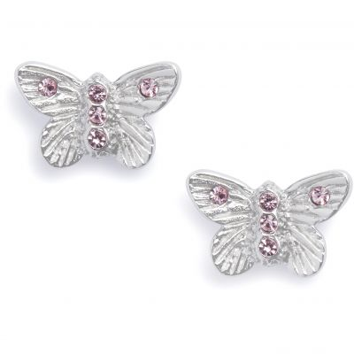 Bejewelled Butterfly Stud Silver Earrings OBJ16MBE08