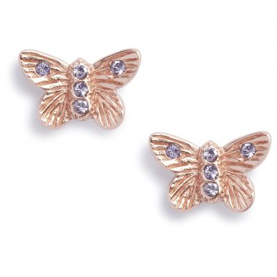 Bejewelled Butterfly Stud Rose Gold Earrings OBJ16MBE07