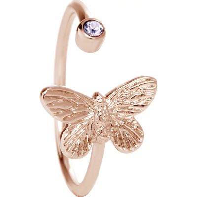 Bejewelled Butterfly Rose Gold & Quartz Ring OBJ16MBR01