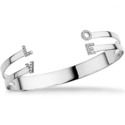 Ladies Mya Bay Silver Plated Love Bangle JC-LO-01.S