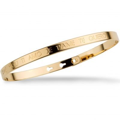 Ladies Mya Bay Gold Plated JE T'AIME I LOVE YOU TI AMO TE QUIERO Text Bangle JC-03.G