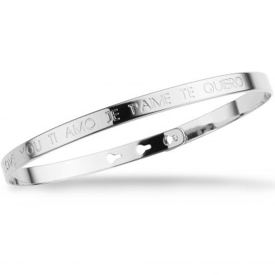 Mya Bay Dam JE T'AIME I LOVE YOU TI AMO TE QUIERO Text Bangle Silverpläterad JC-03.S