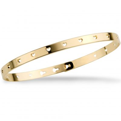 Mya Bay Dam Perforated Heart Bangle Guldpläterad JC-52.G