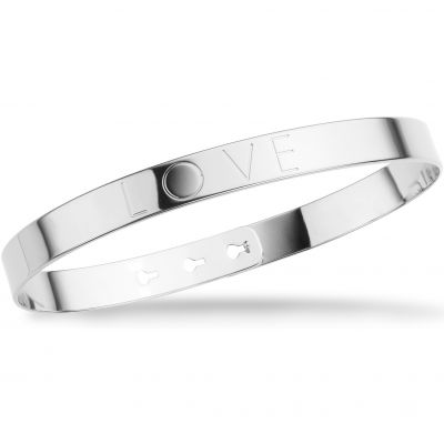Ladies Mya Bay Silver Plated LOVE Text Bangle JL-01.S