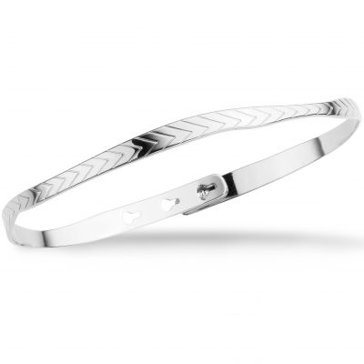 Mya Bay Dam Leaf Texture Bangle Silverpläterad JC-55.S