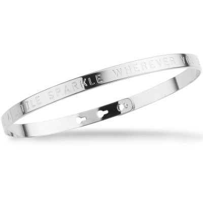 Ladies Mya Bay Silver Plated LEAVE A LITTLE SPARKLE WHEREVER YOU GO Text Bangle JC-BL-04.S