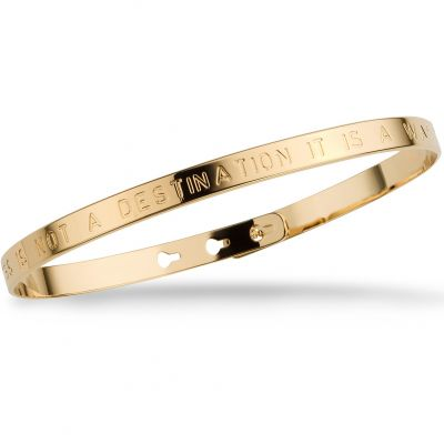 Mya Bay Dam HAPPINESS IS NOT A DESTINATION IT IS A WAY OF LIFE Text Bangle Guldpläterad JC-01.G