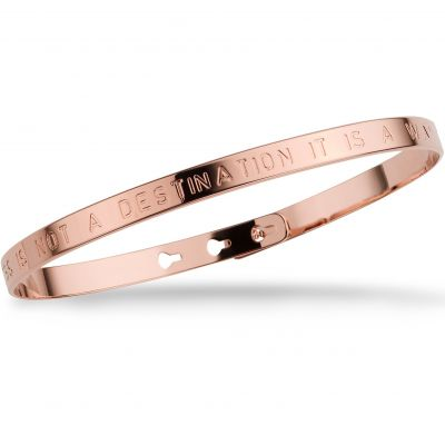 Ladies Mya Bay Rose Gold Plated HAPPINESS IS NOT A DESTINATION IT IS A WAY OF LIFE Text Bangle JC-01.P
