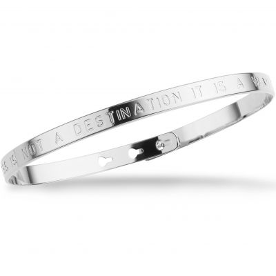 Ladies Mya Bay Silver Plated HAPPINESS IS NOT A DESTINATION IT IS A WAY OF LIFE Text Bangle JC-01.S