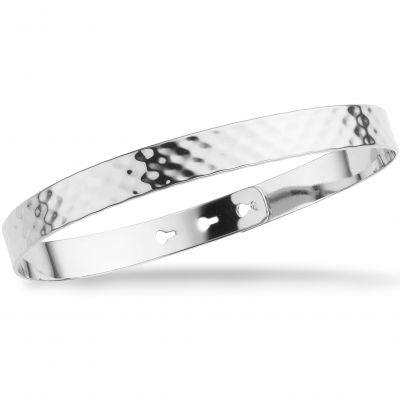 Mya Bay Dam Hammered Texture Bangle Silverpläterad JL-07.S