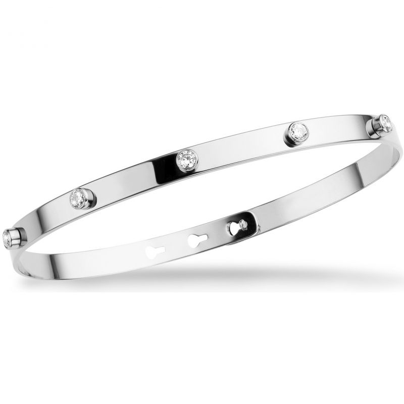 Ladies Mya Bay Silver Plated 6 White Stone Bangle JP-10.S