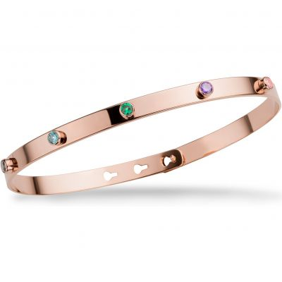 Ladies Mya Bay Rose Gold Plated 5 Multicoloured Stone Bangle JP-09.P