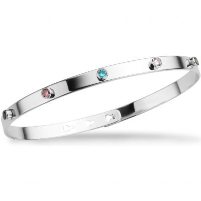 Mya Bay Dam 6 Multicoloured Stone Bangle Silverpläterad JP-11.S