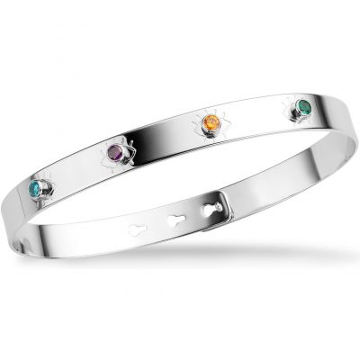 Mya Bay Dam Shining Eyes 4 Multicoloured Stone Bangle Silverpläterad JP-14.S