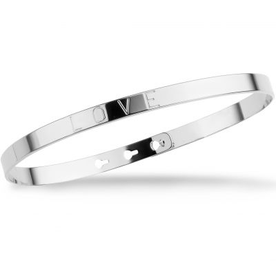 Ladies Mya Bay Silver Plated LOVE Text Bangle JC-08.S