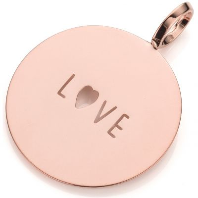Ladies Mya Bay Rose Gold Plated LOVE Text Medal Charm PME-03.P