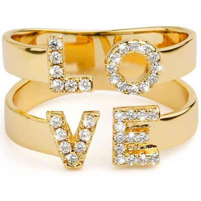 Ladies Mya Bay Gold Plated Love Ring BA-LO-01.G
